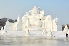 La escultura de nieve - barbacan Fotografía de archivo