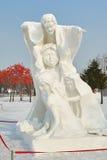 La escultura de nieve - familia Fotografía de archivo