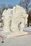 La escultura de nieve - los caballos Fotografía de archivo