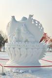 La escultura de nieve - modelo del lobo Imagenes de archivo