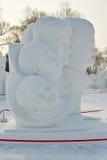 La escultura de nieve - retratos Fotografía de archivo
