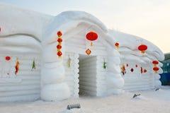 La escultura de nieve - viviendas de nordeste Fotos de archivo