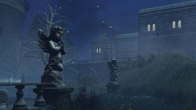 La escultura del cupido en la noche brumosa del otoño stock de ilustración