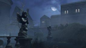 La escultura del cupido en parque abandonado en la noche Imágenes de archivo libres de regalías