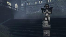 La escultura del cupido viejo en la noche brumosa stock de ilustración