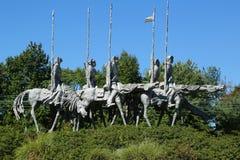 ` La escultura del ` de los partidarios del artista Andrew Pitynski en Hamilton, NJ Foto de archivo