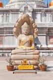 La escultura y siete de Buddha dirigieron la cobra Foto de archivo libre de regalías