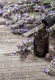 La esencia del aceite de lavanda dreied florece el fondo de madera Fotografía de archivo libre de regalías