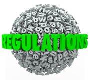 La esfera de la bola de la letra de la palabra de las regulaciones gobierna instrucciones de las leyes stock de ilustración