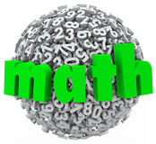 La esfera de la bola de la matemáticas numera datos de la multiplicación 3d de la adición Foto de archivo libre de regalías