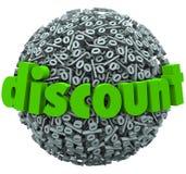 La esfera de la muestra del por ciento del descuento ahorra precio de venta del dinero Fotos de archivo