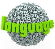 La esfera de la palabra de la letra de la lengua aprende extranjero Fotografía de archivo