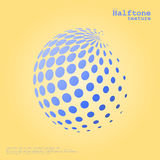 La esfera de semitono abstracta en color azul y el complemento colorean el fondo Fotografía de archivo libre de regalías