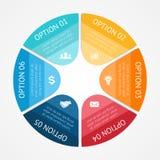 La esfera económica infographic, diagram 6 opciones stock de ilustración