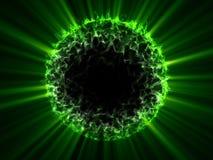 La esfera extranjera del verde del globo de la fantasía con verde brilla Foto de archivo libre de regalías