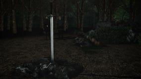 La espada legendaria Excalibur en una piedra con MERLIN y rey Arthur ilustración del vector