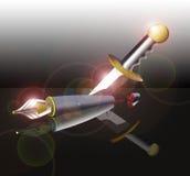 La espada puede ser más poderosa que la pluma Imagenes de archivo