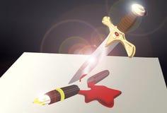 La espada puede ser más poderosa que la pluma Fotos de archivo