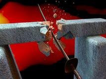 La espada rompe una piedra Imágenes de archivo libres de regalías