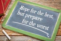 La esperanza del mejor pero se prepara Foto de archivo libre de regalías