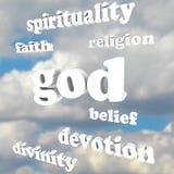 La espiritualidad de dios redacta la dedicación de la divinidad de la fe de la religión Foto de archivo libre de regalías