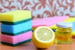 La esponja y los trapos brillantes de la limpieza fijaron, aceite de oliva en el tarro, limón en una tabla de madera Concepto ami Fotografía de archivo