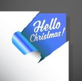 La esquina de papel de la Navidad cortada con hola el texto de la Navidad destapa libre illustration