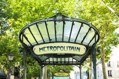 La estación del metropolitain de las abadesas firma adentro Montmartre Fotos de archivo libres de regalías