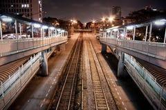 La estación en vida de noche Imagen de archivo libre de regalías