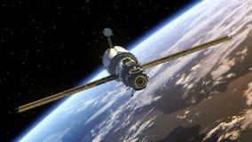 La estación espacial despliega los paneles solares ilustración del vector