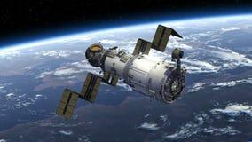 La estación espacial despliega los paneles solares stock de ilustración