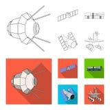 La estación espacial en órbita, la preparación del cohete del lanzamiento, el vagabundo lunar en la superficie Sistema de la tecn ilustración del vector