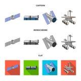 La estación espacial en órbita, la preparación del cohete del lanzamiento, el vagabundo lunar en la superficie Sistema de la tecn libre illustration