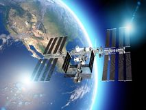 La estación espacial internacional ISS es una estación espacial, o un satélite artificial habitable, en órbita terrestre baja Vis stock de ilustración