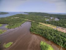 La estación magnífica del paso de frontera de Portage E.E.U.U.-Canadá en verano Foto de archivo libre de regalías