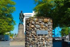 La estatua de John Robert Godley, fundador de la región de Cantorbery en Christchurch, Nueva Zelanda Fotografía de archivo