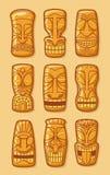 La estatua de oro hawaiana de dios del tiki talló tikki polinesio ilustración del vector