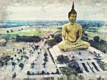 La estatua de oro más grande de Buda en el templo de Muang, Aungthong tailandés stock de ilustración