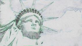 La estatua del dibujo hecho a mano de la pluma de la libertad para el fondo inconsútil de la animación del lazo de la historieta  stock de ilustración