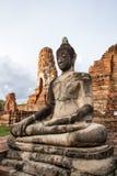 La estatua vieja Buda en Ayutthaya, Tailandia Foto de archivo libre de regalías