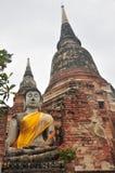 La estatua vieja Buda y pagoda Imagen de archivo libre de regalías