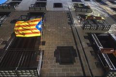 La Estelada flag symbol of independentism. Of Catalonia Stock Photo