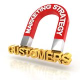 La estrategia de marketing para atraer a los clientes, 3d rinde stock de ilustración
