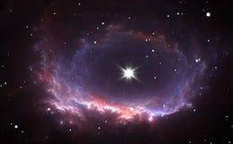 La estrella brillante en el centro de la nebulosa Fotos de archivo libres de regalías