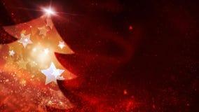 La estrella chispeante roja llenó el lazo del fondo del árbol 4K stock de ilustración