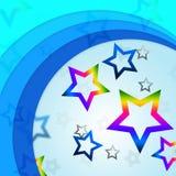 La estrella curva líneas de las demostraciones del fondo y las estrellas Curvy del arco iris ilustración del vector