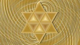 La estrella de David que enfoca en la rotación de oro modela el fondo libre illustration