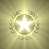 La estrella de la insignia del ganador y la luz de la hoja de la aceituna señalan por medio de luces Foto de archivo libre de regalías