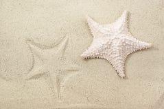 La estrella de mar y es impresión en la arena Imagen de archivo libre de regalías