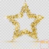La estrella de oro del brillo de muchas pequeñas estrellas vector la bandera en b blanco ilustración del vector
